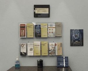 Brochures in bank branch